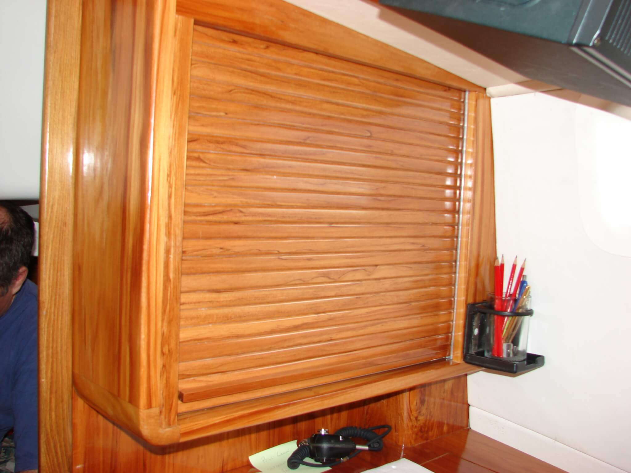 Rimu roller door in boat