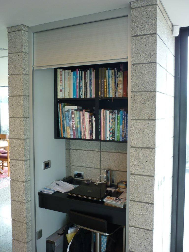 Anodized Aluminium Roller Door to cover study nook