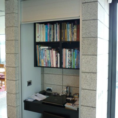 Anodized Aluminium Roller Door to cover study nook