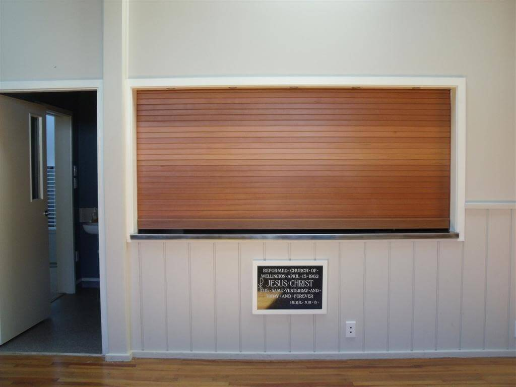 Cedar Servery Door in church